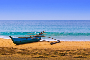 Fisherman's Canoe on Beach: Fisherman Boat on the Beach, Sri Lanka
