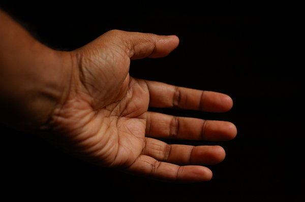 Hand: Hand on a dark background