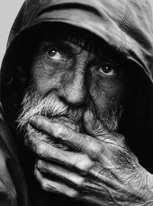 Pensive Homeless Portraiture I: http://www.morguefile.com ..   Link to another image of Mike in color and higher resolution. For folks who like making large prints rez is 4200X6300 pixels, Filesize 13.63 MB