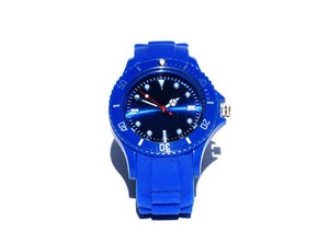 blue wrist watch: none
