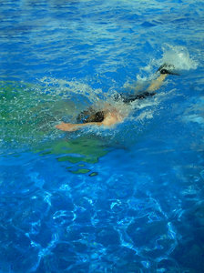 Swimmer with fins: Swimmer in the swimming pool