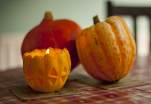 Halloween: Pumpkin, squash and home made lantern