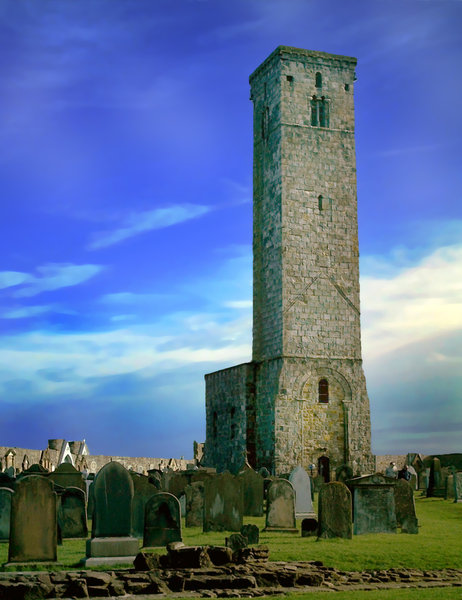 Old tower 1: Tower and graveyard in St Andrews, Scotland