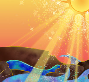 Sparking ocean sunrise: visit my site ozaidesigns.com for more of my free illustrations!A colorful, sparkling ocean sunrise. **If you download this for online use, dont give me credit but DO send a link, I love to see how my work is used!