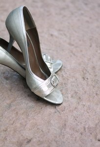 Shoes: Silver stilettos