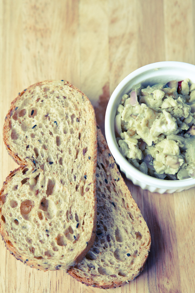 Breakfast: Photo of breakfast meal of scrambled eggs and bread