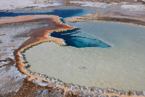 coloured Hot Spring 1: Hot springs in Yellowstone National Park, Wyoming, USA