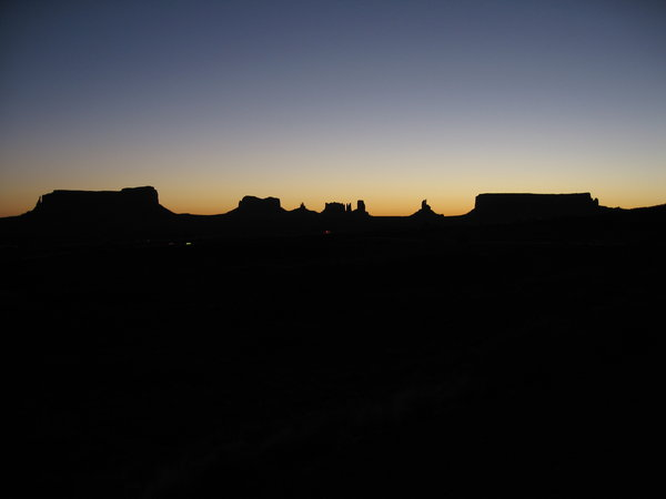 Night time in Monument valley: Outline of the mountains in Monument Valley