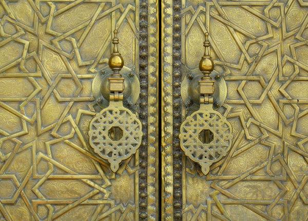 Royal Golden gates in Fes: Gold gates to the Royal palace in Fes, Morocco