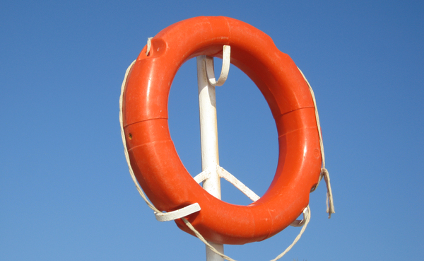 Life saver: Life belt on the shores of egypt.
