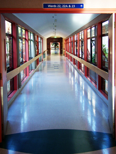 Hospital walkway: Hallway to wards of the hospital.