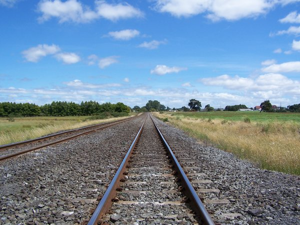 Looking down the line: Railroad track