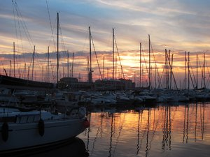 evening at trieste: marina in sunset light