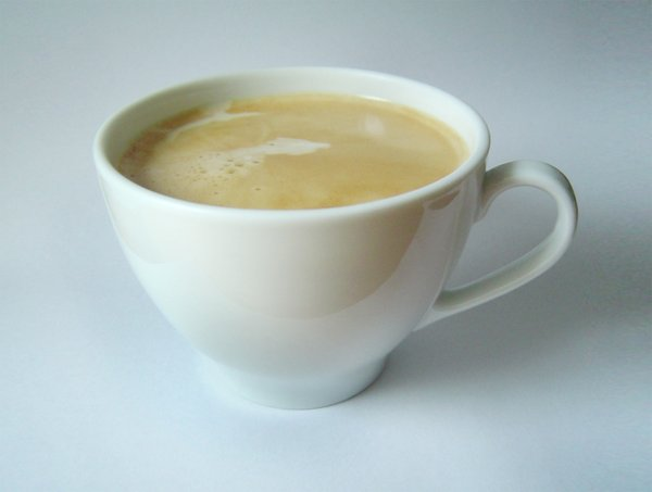 Coffee with crema 2: classic white coffee cup