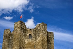 Castle tower: Coinsbrough castle near Doncaster in England.