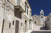 Italian street and church: An old town street and church in Puglia, Italy.