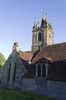 Old church steeple: An old church with crowned steeple in West Sussex, England.