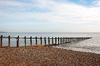 Beach groyne: A groyne on a beach in Sussex, England, in winter.