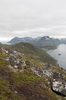 Mountain hiking trail: A hiking trail on a mountain in the Lofoten Islands, Norway.
