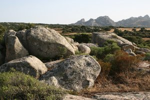 Boulder landscape: A boulder-strewn landscape in the interior of Sardinia.