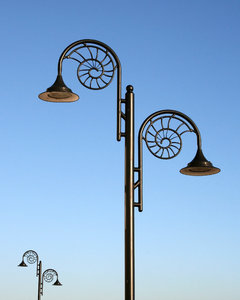 Ammonite lamps: Lamps in Lyme Regis, England, incorporating a motif of the ammonite fossils found there.