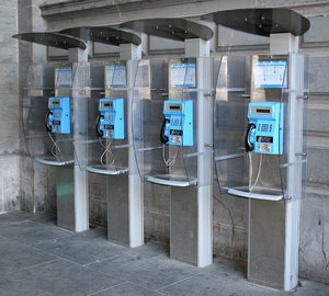 Phone booths: Phone booths outside a railway station in Belgium.