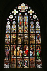 Church window: A stained glass window from a Belgian church in which photography was freely permitted.