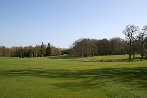 Green landscape: The green landscape of a golf course in West Sussex, England, in spring.