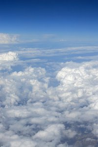 Clouds from above: Clouds seen from an aircraft window.