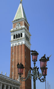 Venice: A view of the Piazza San Marco, Venice, with St Mark's Campanile towering above.