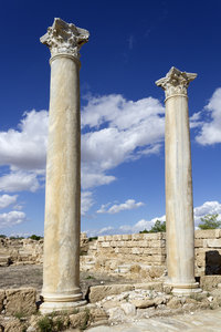 Two pillars: Two ancient Greek pillars among ruins in northern Cyprus.