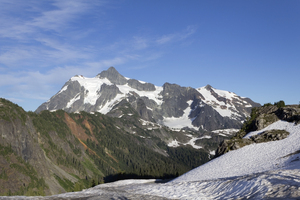 Snowy mountain: Mt Shuksan and surrounding area high in the Cascades mountains, USA.