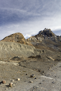 Stark landscape: Mountain landscape in the Rockies, Canada, after the retreat of a glacier.