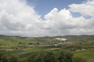 Landscape with white villages: Landscape of southern Spain with distant old whitewashed hilltop villages.