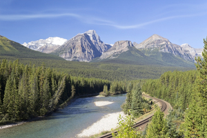 River railway: A river and railway running through the Rockies, Canada.