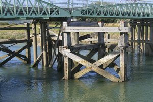Bridge supports: Supports of a gantry bridge over a canal in Sussex, England.