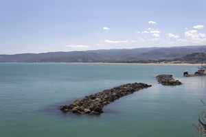 Coastline with wavebreakers: Coastline, with wavebreakers, of southern Italy.