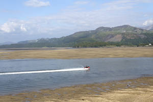 Jet boat: A jet boat on the Mawddach Estuary, Wales.