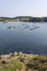 Costa Brava bay: A bay with moored boats on the Costa Brava, Spain.