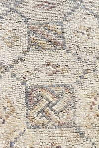 Ancient mosaic: Mosaic in the ruins of Caesarea Maritima, Israel, built by Herod the Great about 25–13 BC. Photography at this site was freely permitted.