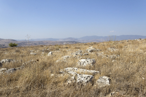 Israel landscape: Dry limestone landscape of the top of Mt Arbel national park, Galilee, Israel.
