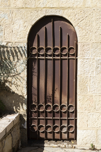 Old iron door: An old iron door into a house in Jerusalem, Israel.