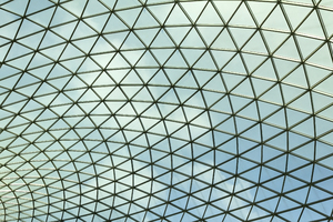 Glass roof: Glass roof of the Great Court of the British Museum, London, England. Photography in the publicly accessible parts of this museum was freely permitted.