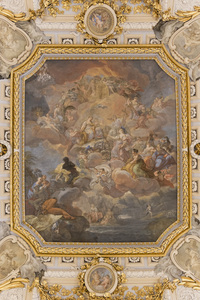 Lavish ceiling: A lavish painted ceiling in the Palacio Real de Madrid, Spain. Photography in this area was freely permitted.