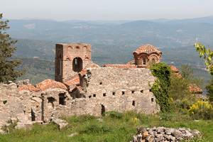 Byzantine ruins: Ruins of an old Byzantine church at Mystras, Greece. Photography at this UNESCO World Heritage site was freely permitted.