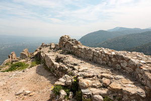 Ancient fortress ruins: Ruins of an ancient stone fortress at Mystras, Greece, in spring. Photography at this UNESCO World Heritage site was freely permitted.
