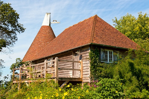 Oast house: A converted oast house in Sussex, England.