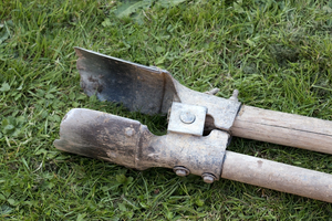 Double spade: A traditional English double spade, used for digging fencepost holes.