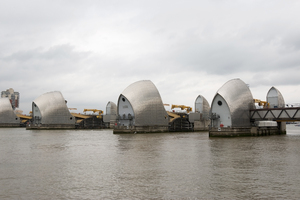 Thames Flood Barrier: The Thames Flood Barrier, viewed from the south bank of the River Thames, London, England.