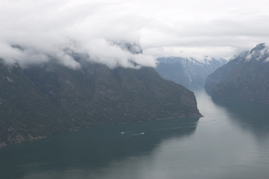Sombre fjord: A fjord in Norway on a sombre day.